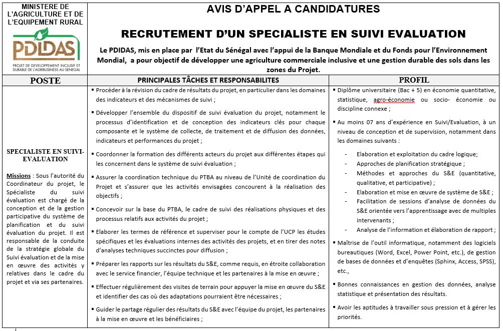 RECRUTEMENT D'UN SPECIALISTE EN SUIVI EVALUATION